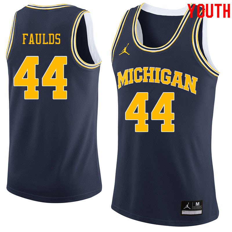 Jordan Brand Youth #44 Jaron Faulds Michigan Wolverines College Basketball Jerseys Sale-Navy