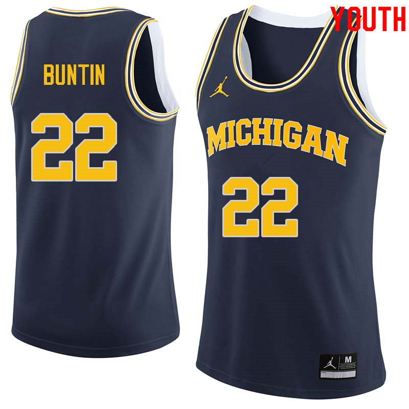 Youth #22 Bill Buntin Michigan Wolverines College Basketball Jerseys Sale-Navy