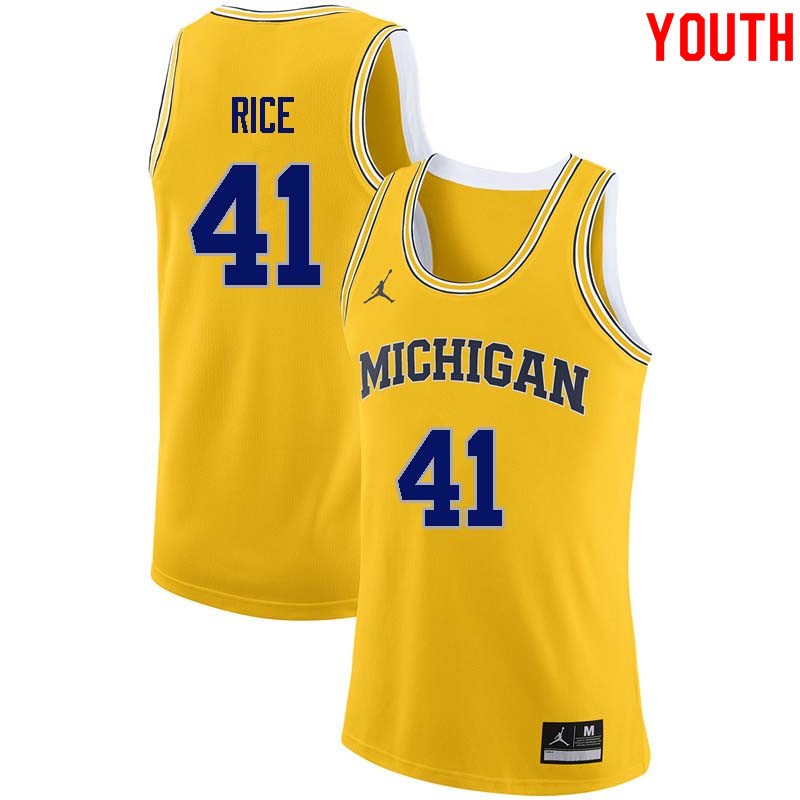Youth #41 Glen Rice Michigan Wolverines College Basketball Jerseys Sale-Yellow