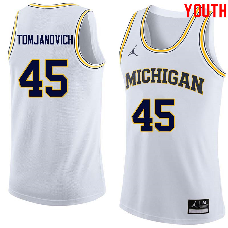 Youth #45 Rudy Tomjanovich Michigan Wolverines College Basketball Jerseys Sale-White